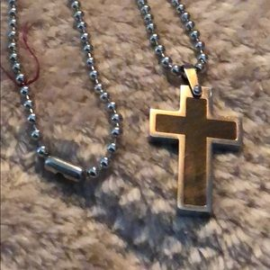 """🌺 Stainless Steel Cross Necklace 21"""" Chain"""